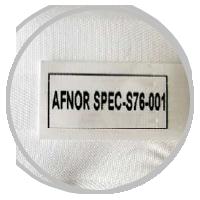 Masque Etiquette AFNOR-SPEC-S76-001